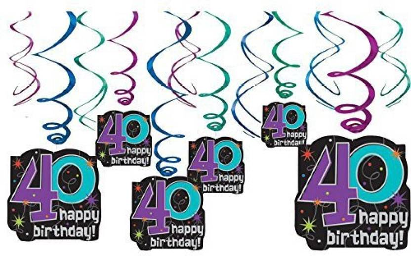 Generic The Party Continuous 40th Birthday Hanging Swirl Ceiling Decoration Pack Of 12 Multi 95 X 33