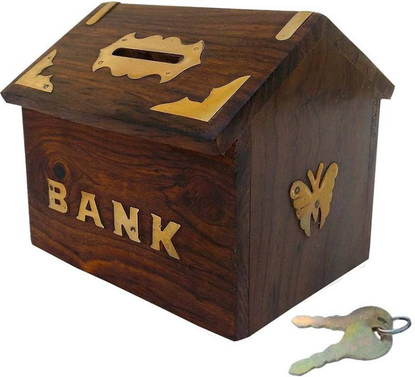 Jk Handicrafts Wooden Handmade Sheesham Wood Money Bank Coin Bank