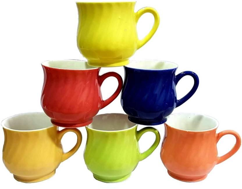 0abaa18b4a Pin to Pen Fine Bonechina Multicolour Tea Cups set of 6 Bone China ( Multicolor)