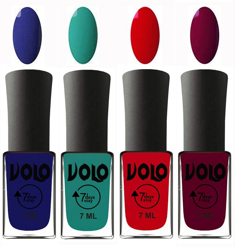 Volo Ultra Lasting HD Shine Awesome Nail Polish Combo Navy Blue, Radium  Green, Blood