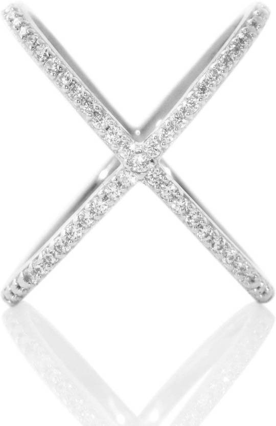 SilverDew Silver Ring Thin X Criss Cross CZ Connected Mother Birthday
