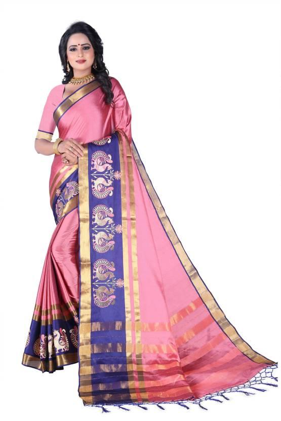 53866603ad Fancy Fab Woven Paithani Cotton Silk, Jacquard, Cotton Linen Blend, Silk  Saree (Pink)