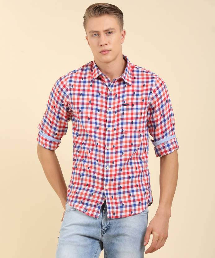 9f8264ffac Pepe Jeans Men s Checkered Casual Red Shirt - Buy RED Pepe Jeans Men s  Checkered Casual Red Shirt Online at Best Prices in India