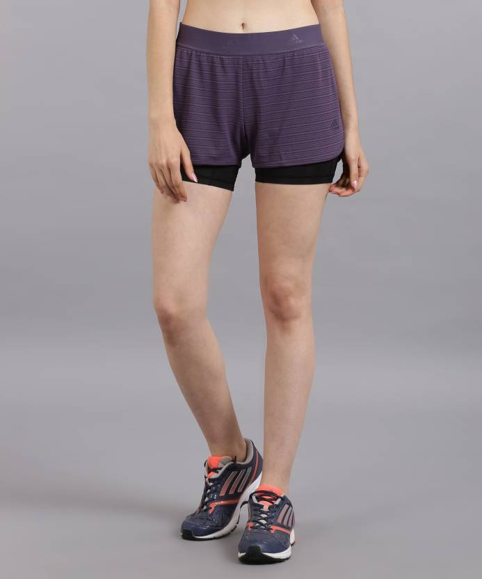 a5be6468e793 ADIDAS Striped Women s Blue Sports Shorts - Buy purple ADIDAS Striped  Women s Blue Sports Shorts Online at Best Prices in India