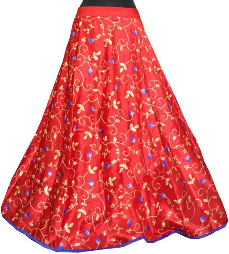 Fabcartz Embroidered Women Flared Red Skirt Buy Fabcartz