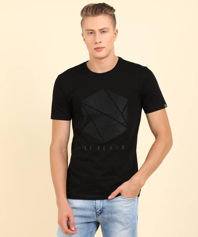 8d528c37c7 LP Jeans by Louis Philippe Printed Men s Round Neck Black T-Shirt ...