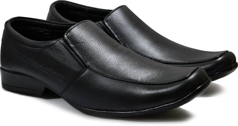 de29d5e220f Feetway Genuine Leather Plain Without Lace Black Formal Shoes For Men Slip On  For Men (Black)