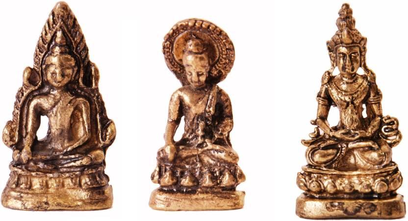 Purpledip Rare Miniature Statue Set Lord Buddha in 3 Different Poses