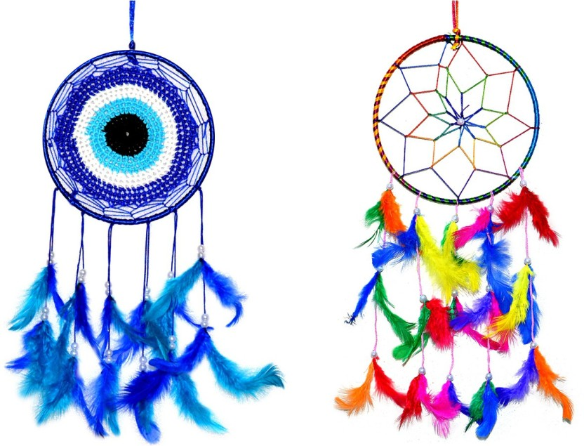 Evil Eye And Owl Car Hanging Rooh Handmade Dream Catcher with Feathers