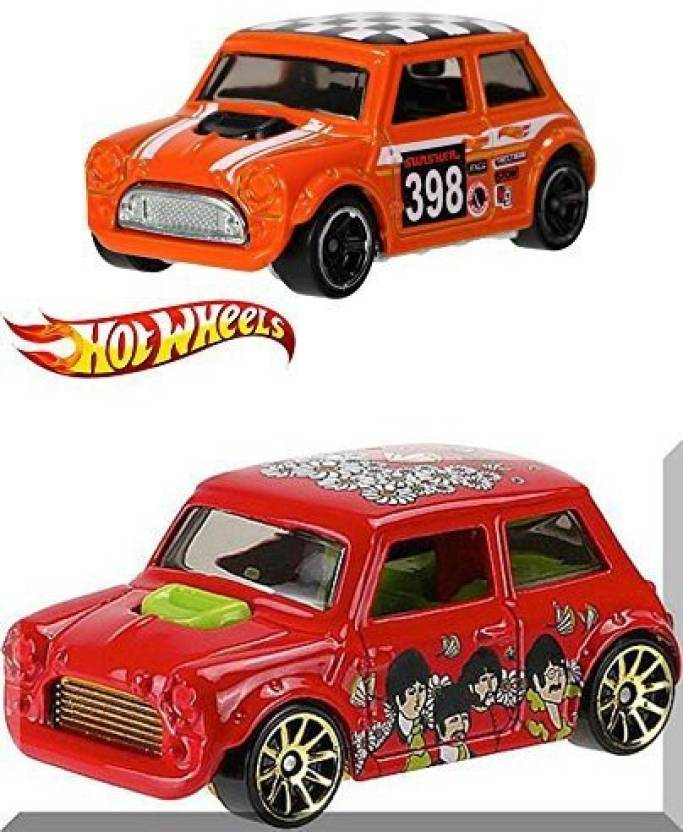 Beatles Hot Wheels Morris Mini Cooper Off Road Mini 80 Car 2 Pack