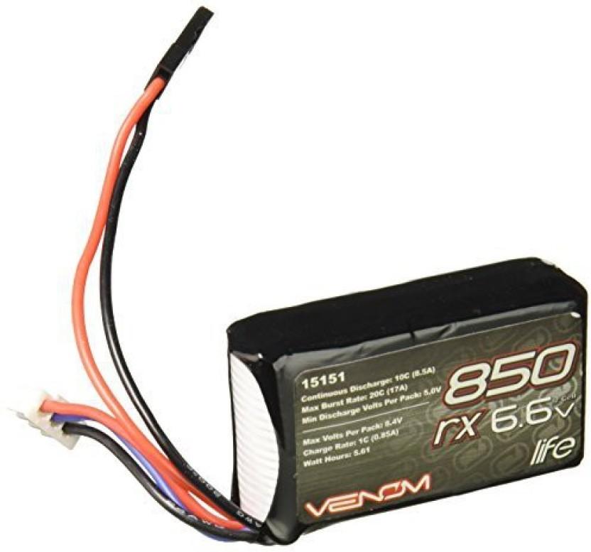 Venom 10C 2S 850mAh 6.6V LiFe TX//RX Transmitter and Receiver Battery