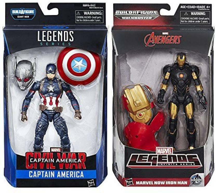 5594b85ea0 Legends Marvel Infinite Series Avengers Marvel Now Iron Man + Civil War Captain  America Action Figure 2-Pack (Multicolor)