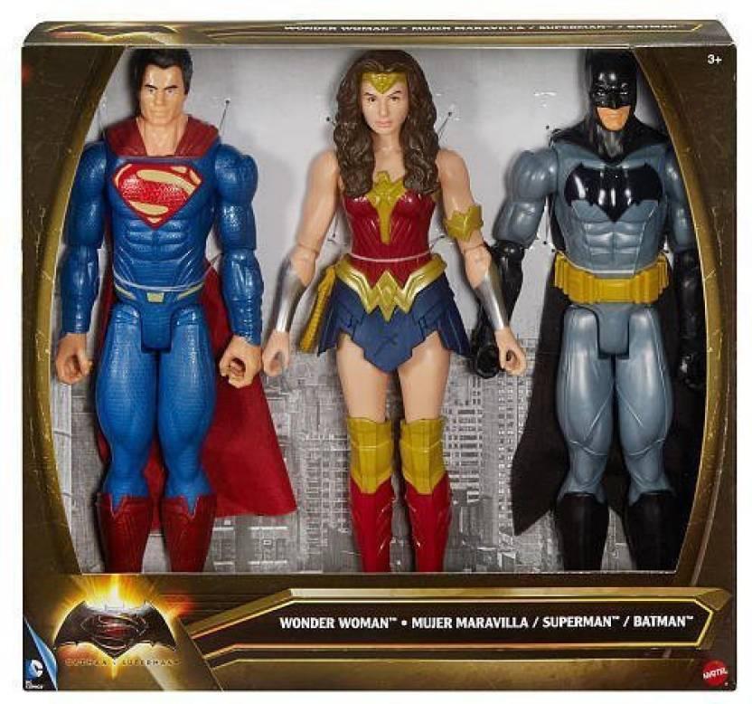 2868742fb4478 DC Comics Batman V. Superman 12 Inch Superman Wonder Woman Batman Action  Figure Set (Multicolor)