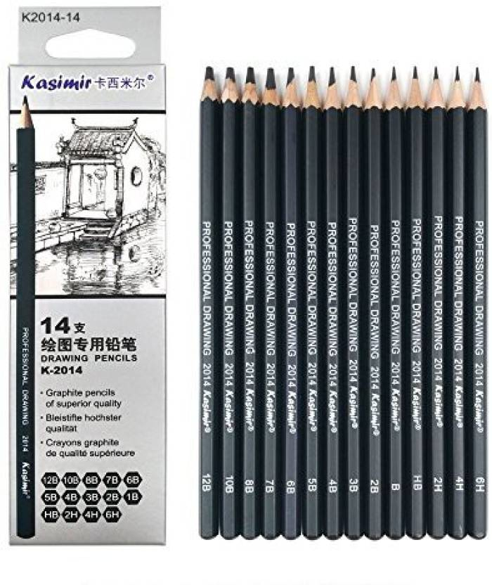 Kasimir Best Quality 14pcs/set 12B 10B 8B 7B 6B 5B 4B 3B 2B B HB 2H 4H 6H Graphite Sketching Pencils Professional Sketch Pencils Set for - Best Quality ...