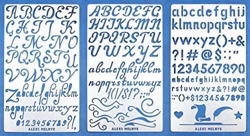 Aleks Melnyk 34 Bullet Journal Stencil Metal/Alphabet Letter Number