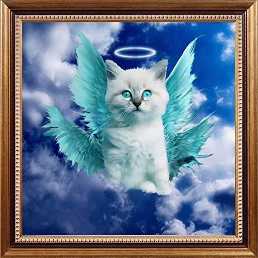 e23df58c63fe6 Easy Painter 5D DIY Angel Cat Diamond Painting By Number Blue Eye Cat Full  Round Diamond Embroidery Painting Cross Stitch Needlework Home Dec - 5D DIY  Angel ...