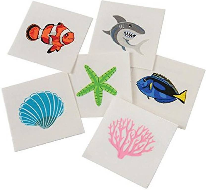 US Toys Assorted Coral Reef Ocean Life Children\'S Temporary Tattoos ...
