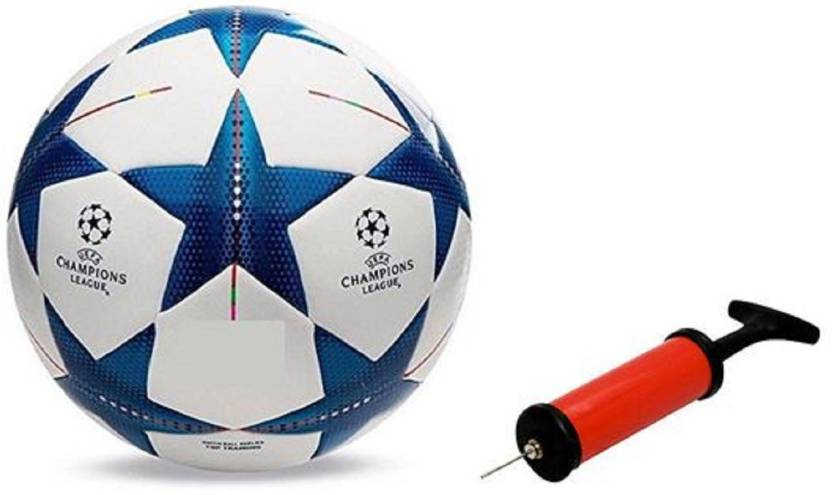 Aristo Bluestar UEFA Football with Inflating Air Pump Football   Size: 5 Pack of 2, Multicolor