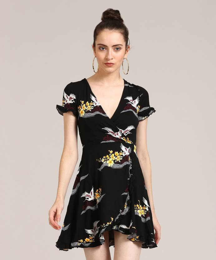 c546d75acf9 Forever 21 Women s A-line Black Dress - Buy BLACK YELLOW Forever 21 Women s  A-line Black Dress Online at Best Prices in India
