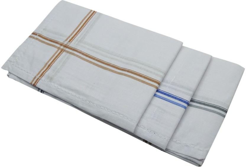 Men/'s Pure Cotton Handkerchiefs White Pack of 3