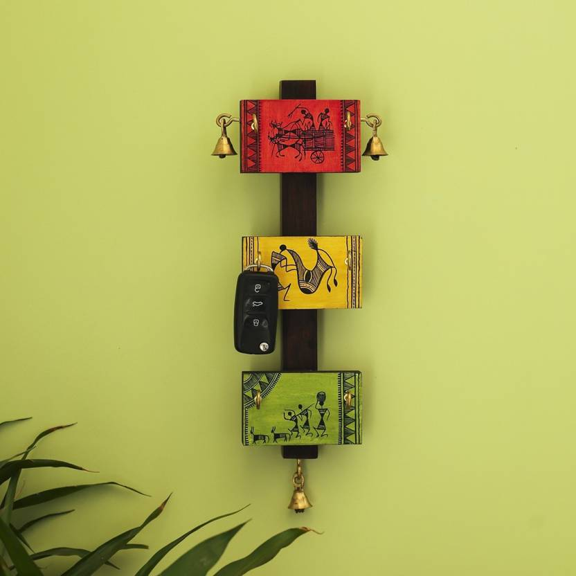 Exclusivelane Panels Of Paintings Warli Hand Painted Wall Hanging Wooden Key Holder