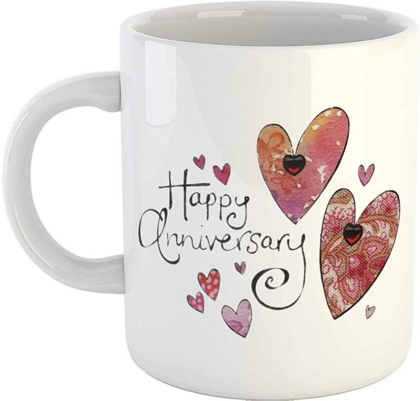 6cd99de578 iKraft Happy Anniversary Tea Cup Wedding Gift for Husband, Wife, Boyfriend,  Girlfriend, Mom Dad Anniversary Gift CoffeeMug - White Ceramic Mug (300 ml)