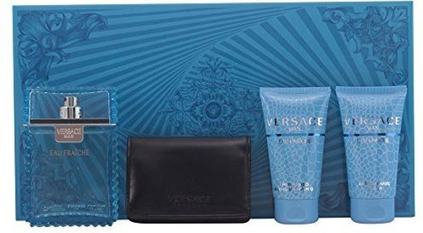 Versace Eau Fraiche 4Pcs Gift Set 3.4 Oz Edt Spray + 1.7 Oz After Shave  Balm + 1.7 Oz Shower Gel + Wallet For Men Eau Fraiche - 100 ml (For Women) c36bc23e474f8