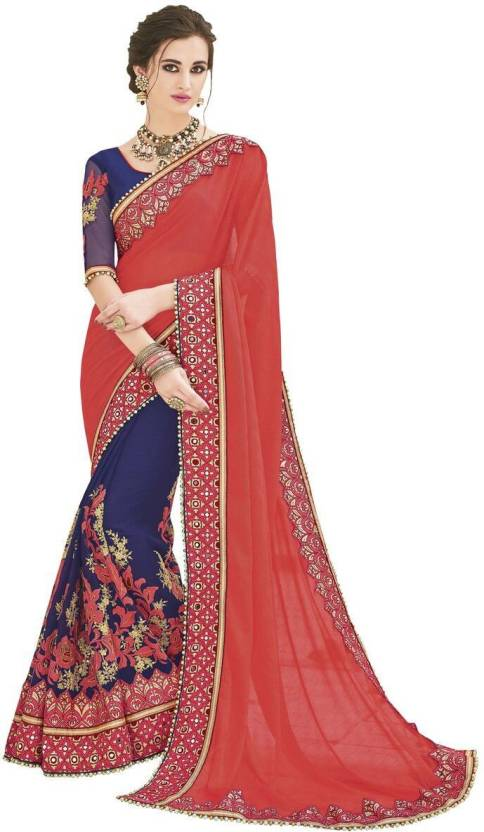 90511fd2b6875 Buy Lajree Designer Embroidered Bollywood Georgette Red Sarees ...