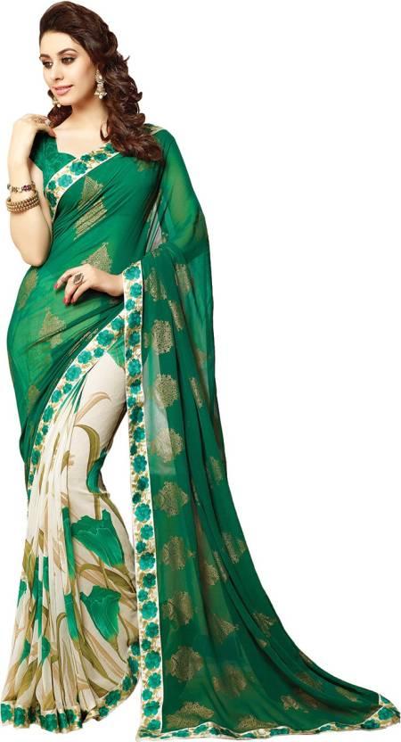 19c96b744 Buy Shyam fashion Printed Bollywood Georgette Green Sarees Online ...