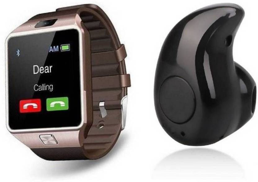 c97a533f189 Czech Pro Compatible Bluetooth DZ09 Smart Watch Wrist Watch Phone with  Camera & SIM Card Support golden Smartwatch &Kaju Bluetooth Headset with  Mic (Black, ...