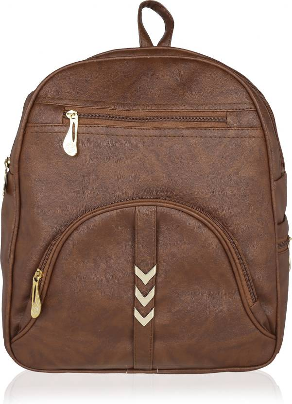 4474cb164e0 Kleio Elegant Zipper Casual College Bag For Girls / Women 17.67 L Backpack ( Brown)