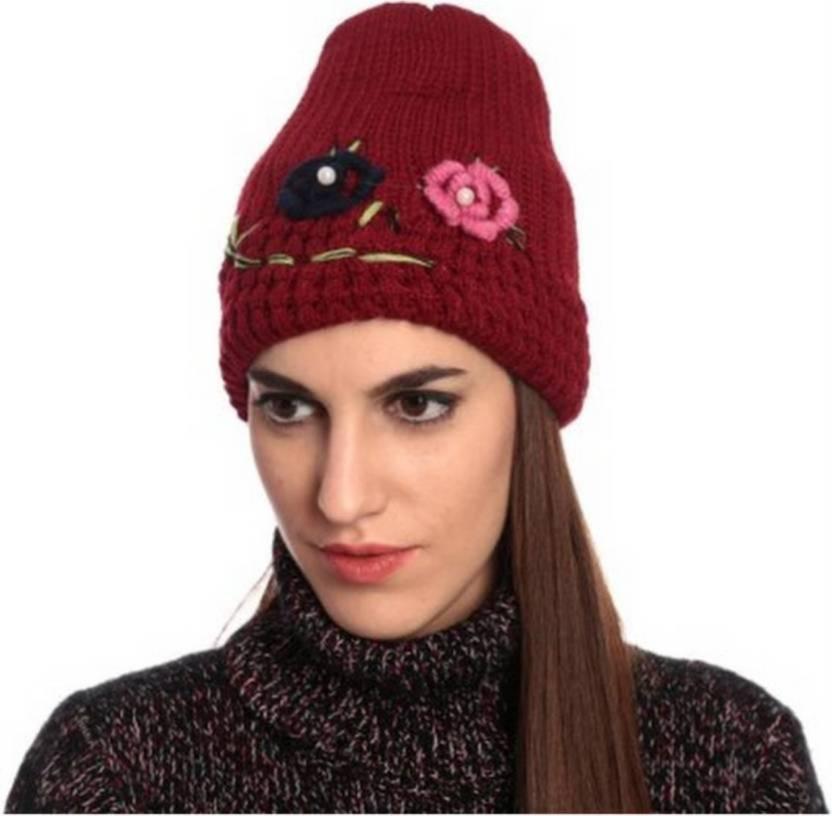 74a225f43230 Tahiro Red Woolen Flower Caps Cap - Buy Tahiro Red Woolen Flower ...