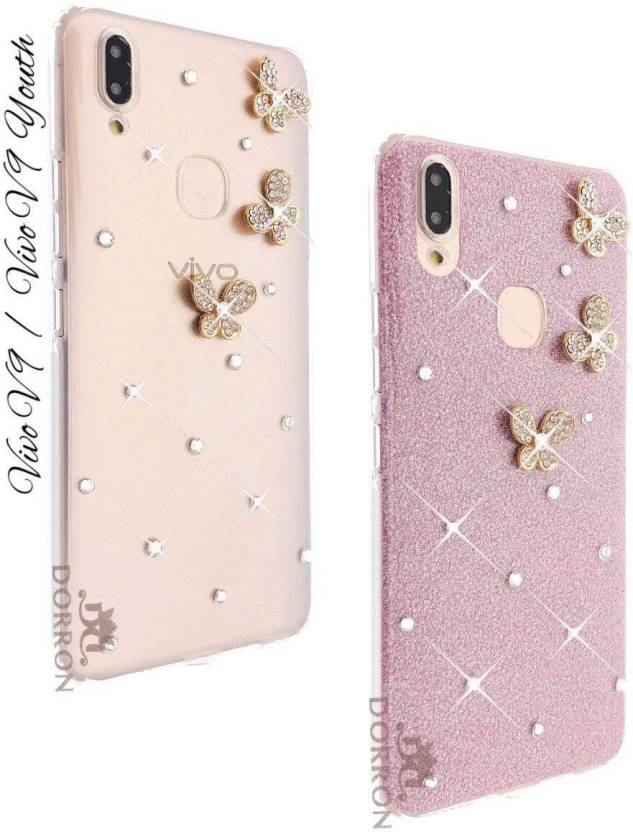 newest 444a5 d7a80 DORRON Back Cover for VIVO V9 / V9 Youth 3D Butterfly Shiny Stylish ...
