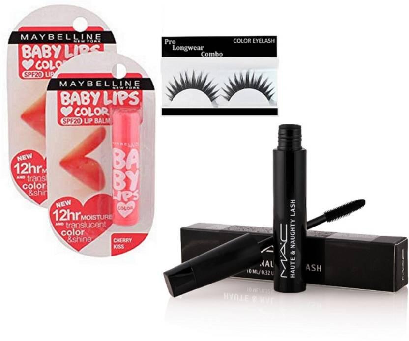 401169668 Pro longwear combo Eyelashes,New York Cherry Kiss Lipblalm Pack Of 2,Mac  Haute & Naughty Lash Mascara (Set of 4)