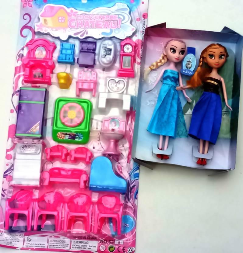 Aparnas Anna Elsa Dolls With Home Set Big 20pcs Complete Doll House