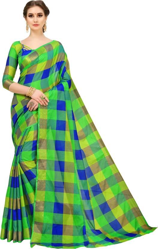 0eca4fc3f3 Buy Navya Fashion Checkered Fashion Art Silk Green Sarees Online ...
