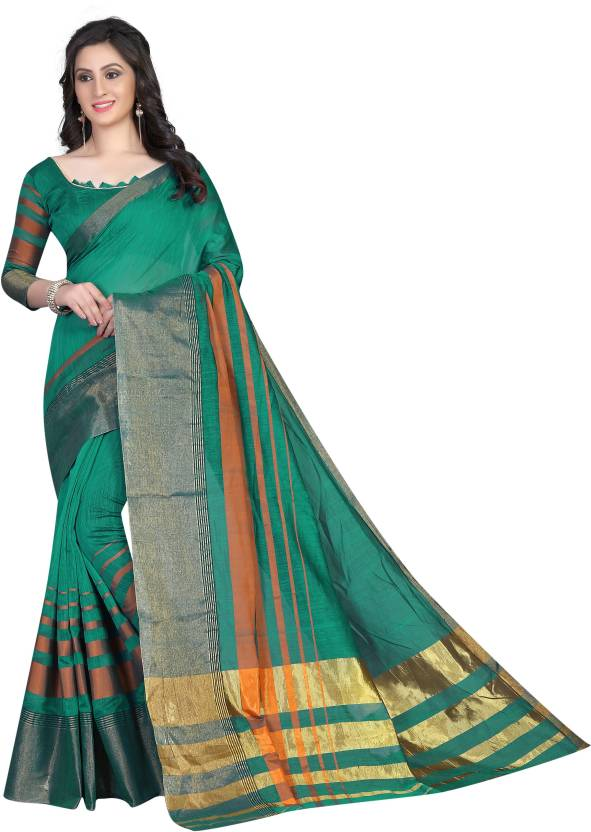 1531728881 ... Embellished, Floral Print, Checkered, Hand Painted, Woven, Animal Print,  Digital Prints Banarasi Poly Silk, Cotton, Cotton Silk Saree (Green)