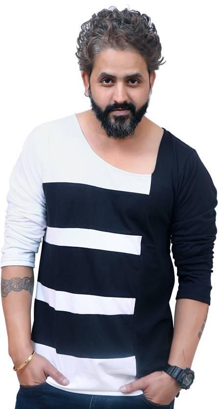 1a958bea5b EG Striped Men Scoop Neck White T-Shirt - Buy EG Striped Men Scoop Neck White  T-Shirt Online at Best Prices in India | Flipkart.com