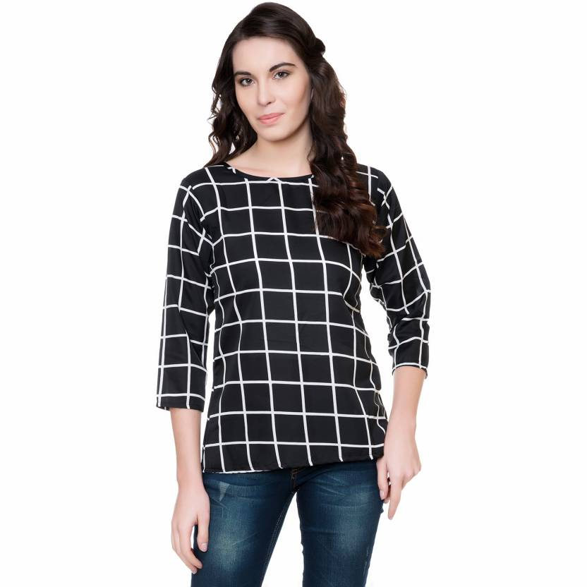 Checkered Women's Black Top