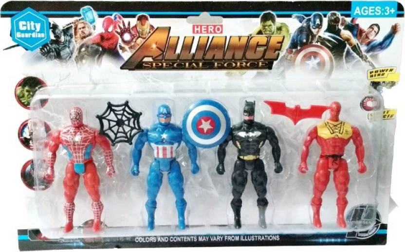 a8dc74f0 ClueSteps Super Hero City Guardian Special Force Justice Avengers Super  Heroes 4 in 1 Action Figure Set - Spiderman, Batman, Captain America  Collect Them ...