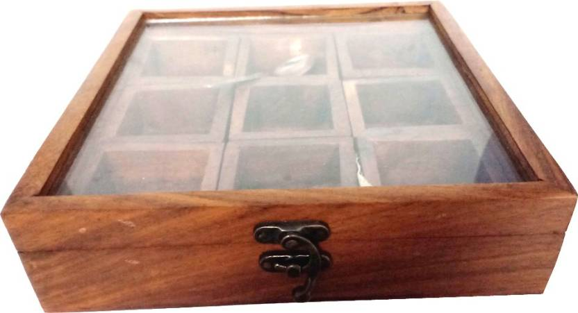 Phirkcraft Wooden Spice Box Masala Containers 2 Ml Wooden Glass