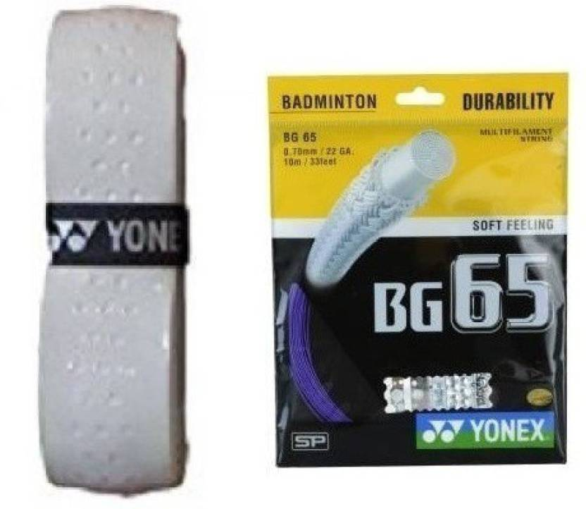 Yonex Combo of Two  One 'Bg  65' Badminton String + One 'Aero Cushion' Badminton grip Badminton Kit