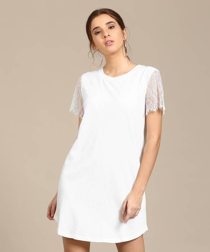 b4e723bb5d9 Forever 21 Women s Shift White Dress - Buy WHITE Forever 21 Women s Shift  White Dress Online at Best Prices in India