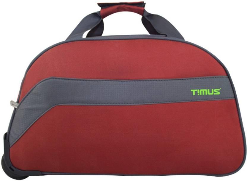 6857b5c30c5d timus BOLT 55 CM RUST 2 WHEEL DUFFLE TROLLEY FOR TRAVEL - CABIN LUGGAGE  Duffel Strolley Bag (Red)