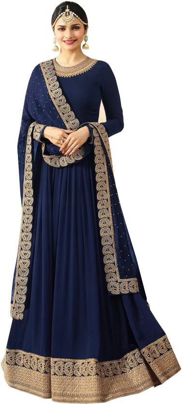 56d6be3d2a YOYO Fashion Faux Georgette Embroidered, Paisley Semi-stitched Salwar Suit  Dupatta Material