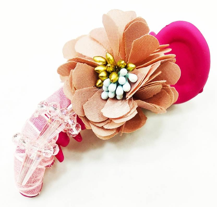 f6ec26588 Fairytale Beautiful Flowers With Crystals Pink Matte Colour Dolphin Hair  Clutcher Hair Clip Party Wear For