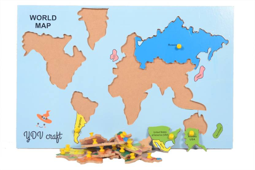 Map Of America Jigsaw.Ydv Craft Wooden World Map Puzzle With Knob Wall Size Jigsaw Puzzle