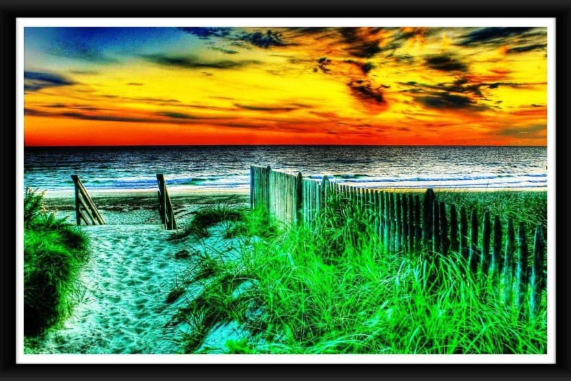 Beautiful Scene Nature Rising Sunset HD Wallpaper Framed