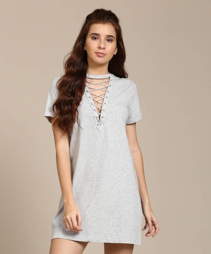 11b480d735e Forever 21 Women s Shift Grey Dress - Buy HEATHER GREY Forever 21 ...