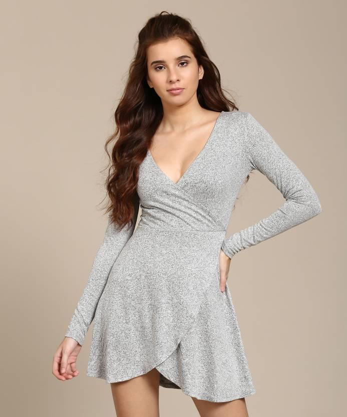 df4109baf426 Forever 21 Women's Wrap Grey Dress - Buy HEATHER GREY Forever 21 Women's  Wrap Grey Dress Online at Best Prices in India | Flipkart.com